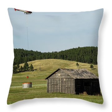 Helicopter Dips Water At Heliwell Throw Pillow