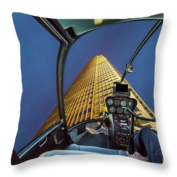 Helicopter On Skyscaper Facade Throw Pillow