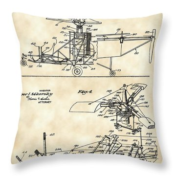 Helicopter Patent 1940 - Vintage Throw Pillow by Stephen Younts