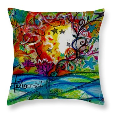 Throw Pillow featuring the painting Helios And Ophelia  by Genevieve Esson