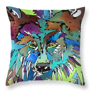 Throw Pillow featuring the painting Hell-bent by Nicole Gaitan
