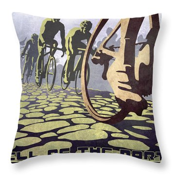 Hell Of The North Retro Cycling Illustration Poster Throw Pillow