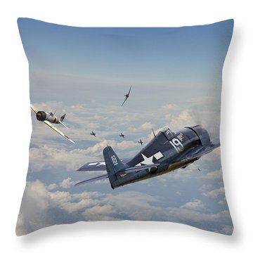Hellcat F6f - Duel In The Sun Throw Pillow by Pat Speirs