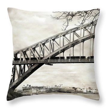 Hellgate Bridge In Sepia Throw Pillow