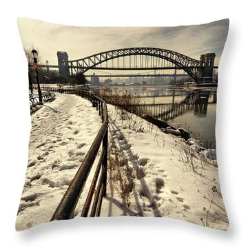 Hellgate Bridge In Winter Throw Pillow