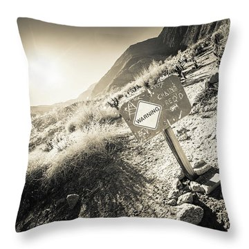 Hellhole Canyon Warning Throw Pillow