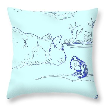 Throw Pillow featuring the drawing Hello Birdie by Denise Fulmer