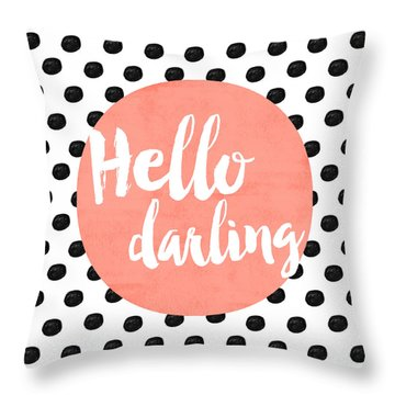 Hello Darling Coral And Dots Throw Pillow by Allyson Johnson