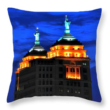 Hello Goodbye In Stormy Skies Atop The Liberty Building Throw Pillow