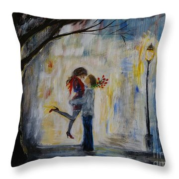 Hello Honey Throw Pillow by Leslie Allen
