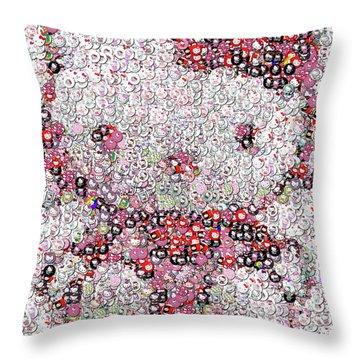 Hello Kitty Button Mosaic Throw Pillow by Paul Van Scott