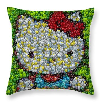 Hello Kitty Mm Candy Mosaic Throw Pillow by Paul Van Scott