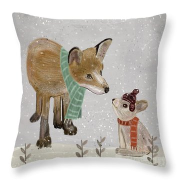 Throw Pillow featuring the painting Hello Mr Fox by Bri B