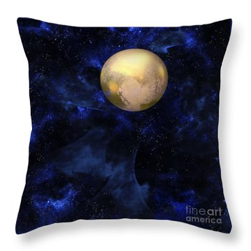Throw Pillow featuring the digital art Hello Pluto by Klara Acel