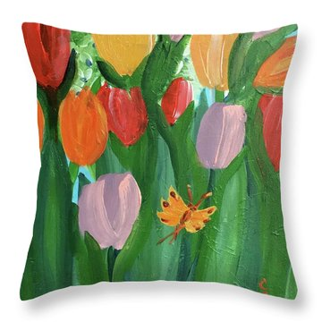 Hello Spring Tulips Throw Pillow
