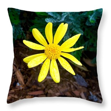 Hello Yellow Throw Pillow by Russell Keating