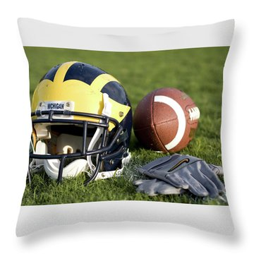 Helmet On The Field With Football And Gloves Throw Pillow