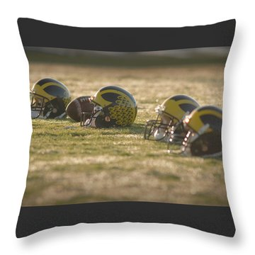 Helmets In Golden Dawn Sunlight Throw Pillow