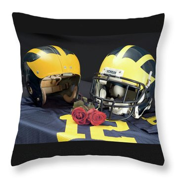 Helmets Of Different Eras With Jersey And Roses Throw Pillow