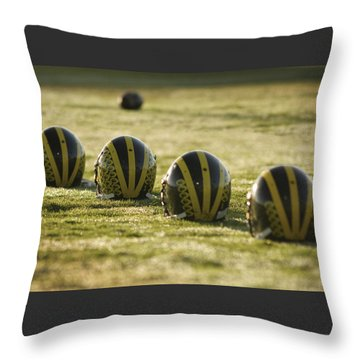 Throw Pillow featuring the photograph Helmets On Dew-covered Field At Dawn by Michigan Helmet