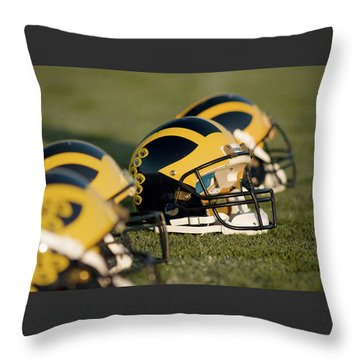 Throw Pillow featuring the photograph Helmets On The Field by Michigan Helmet