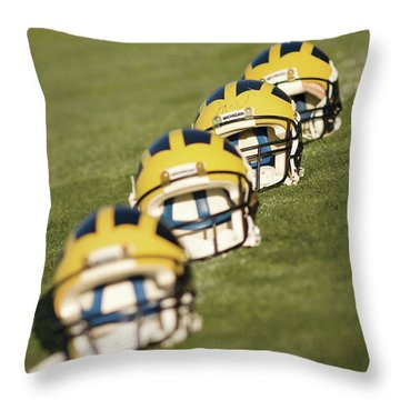 Helmets On Yard Line Throw Pillow