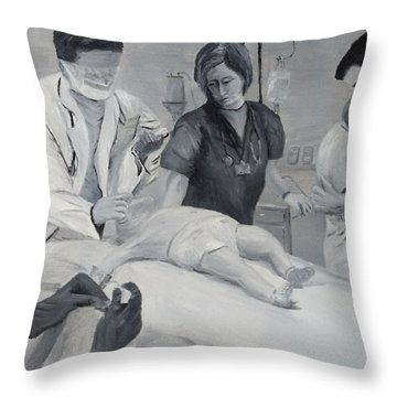 Throw Pillow featuring the painting Help by Kevin Daly