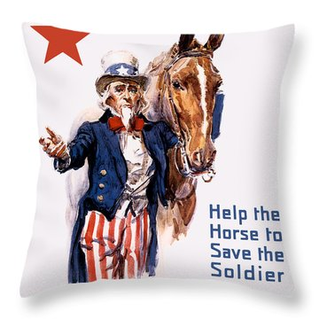 Help The Horse To Save The Soldier Throw Pillow