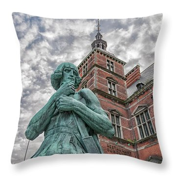 Throw Pillow featuring the photograph Helsingor Train Station Statue by Antony McAulay