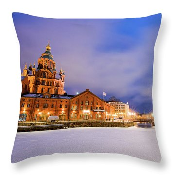 Throw Pillow featuring the photograph Helsinki By Night by Delphimages Photo Creations