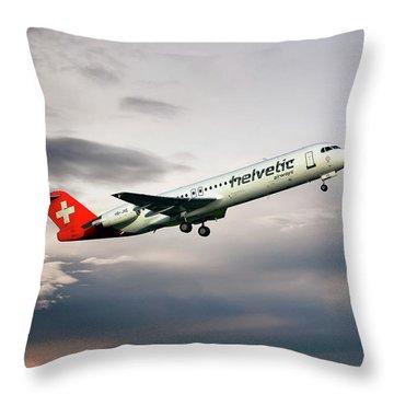 Helvetic Airways Fokker 100 Throw Pillow