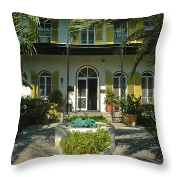 Hemingways House Key West Throw Pillow by Susanne Van Hulst