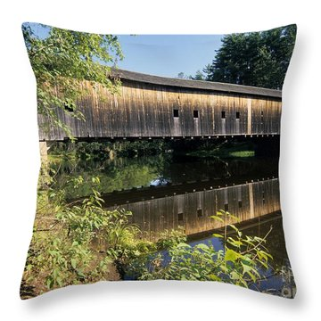 Hemlock Covered Bridge - Fryeburg Maine Usa. Throw Pillow