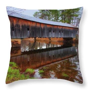 Hemlock Covered Bridge Fryeburg Maine Throw Pillow