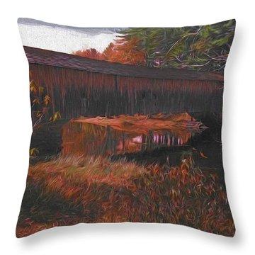 Hemlock Covered Bridge Throw Pillow