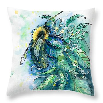 Throw Pillow featuring the painting Hemp Flower Honey Bee by Ashley Kujan