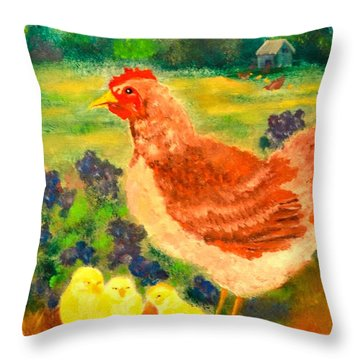 Hen And Chick Throw Pillow