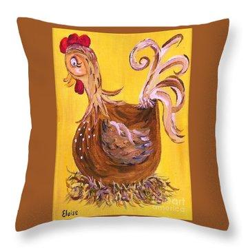 Hen Nesting Throw Pillow by Eloise Schneider