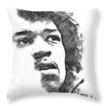 Throw Pillow featuring the drawing Hendrix by Charlie Roman