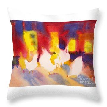 Henhouse Serenade Throw Pillow by Kathy Braud