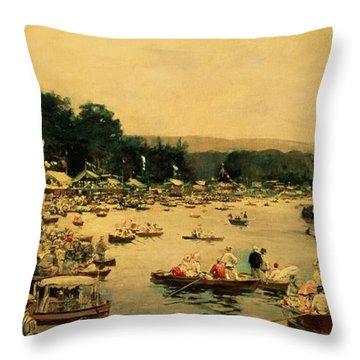 Henley Regatta Throw Pillow by James Jacques Joseph Tissot
