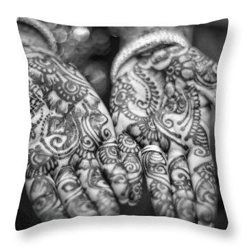 Henna Hands Black And White Throw Pillow