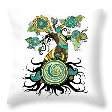 Henna Tree Of Life Throw Pillow