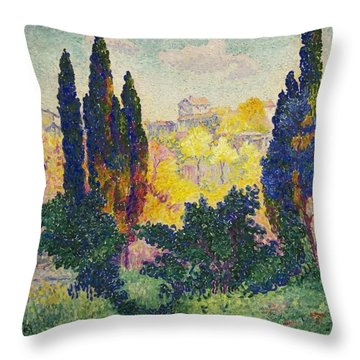 Henri Edmond Cross French Les Cypres A Cagnes Throw Pillow