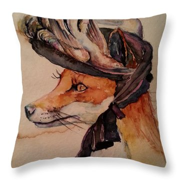 Throw Pillow featuring the painting Henrietta Fox by Christy  Freeman
