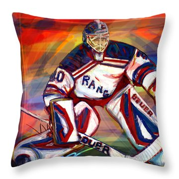 Henrik Lundqvist2 Throw Pillow by Steve Benton