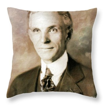 Henry Ford By Mary Bassett Throw Pillow
