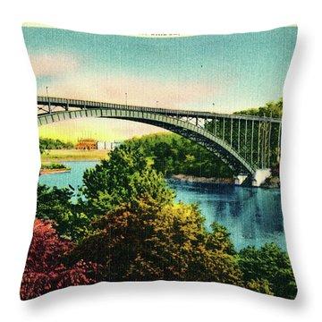 Henry Hudson Bridge Postcard Throw Pillow
