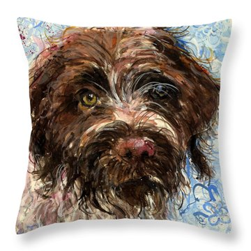 Throw Pillow featuring the painting Henry by Molly Poole