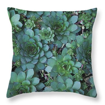 Hens And Chicks - Digital Art  Throw Pillow by Sandra Foster